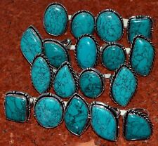 Bulk Price !! Lot 50 PCs. Natural TURQUOISE 925 Sterling Silver Plated Ring