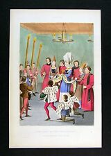 1843 Henry Shaw Print - The Lady of the Tournament Awarding the Prize 15th Cent.