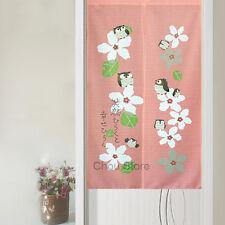 Pink Cherry Blossom Cute Owl Japanese Noren Room Doorway Window Curtain Hanging