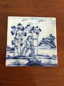 "Antique Delft Tile ""Lady In Arbour"""