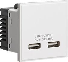 Knightsbridge bianco modulare Dual USB Charger Slot Porta Modulo 5v DC 2a 2x 1a