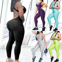 Women Anti Cellulite Yoga Jumpsuits Pants High Waist Butt Lift Leggings Workout