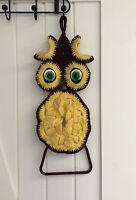 """Crochet Owl Towel Holder 18.5"""" W/ Ring Loop  Bead Beak & Eyes Vintage 70's Boho"""