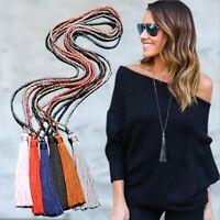Women Boho Long Tassel Pendant Necklace Crystal Bead Charm Sweater Chain Jewelry