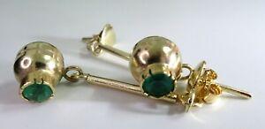 Pendientes de oro 18 cts con esmeraldas naturales