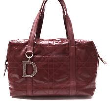Authentic Christian Dior Cannage Polochon Bordeaux Patent Leather Sholuder Bag