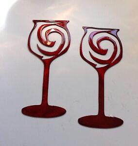 Swirled Wine Glass Pair Metal Wall Art Metallic Red