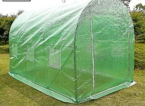 GREENHOUSE, Walk-in Poly Tunnel, Galvanised metal frame, Green plastic cover.