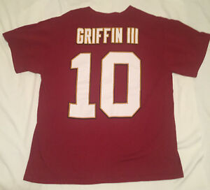 """Redskins #10 Robert Griffin III Printed Tee Shirt Boys Large Used Nice Chest 40"""""""