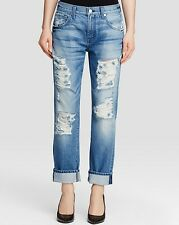 Seven 7 For All Mankind THE RELAXED SKINNY Destroyed Jean Women VINTAGE BLUE 28