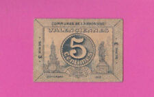 FRANCE - 5 Centimes - Monnaie de CARTON WW1 - VALENCIENNES - 1915 SCARCE - LOOK!