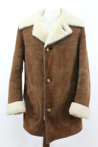 BURBERRYS Brown Shearling Sheepskin Coat Chest size 48""