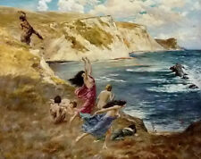 Oil painting John Byam Liston Shaw - sirens surprised by a centaur by ocean art