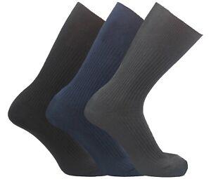 Mens 100% Cotton Diabetic Socks Lot Non Elastic Sock Loose Big Foot Size 11-14