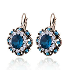 Women's Exotic Turkish Hurrem Cluster Style CZ Crystal Sapphire Fashion Earrings