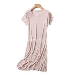 Women Mulberry Silk Knit Nightgown Short Sleeve Sleep Slip Dress Shirt Sleepwear