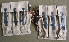 WWII GERMAN MP44 STG44 MP44 AMMO POUCHES-GREY CANVAS W/ BLACK LEATHER