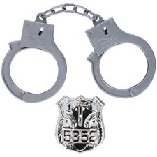 Kids Police Handcuffs and Badge Set Police Role Play Toys Novelty Props Boys