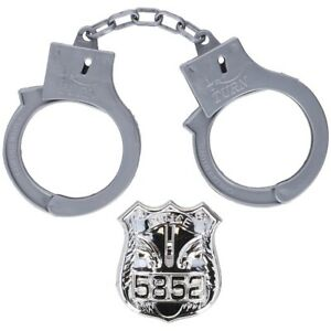 Kids Police Handcuffs and Badge Set Police Role Play Toy Novelty Props Boys Cuff