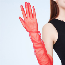 Tulle Long Gloves Stretchy Lace Chiffon Black Semi Sheers Flexible Wedding Glove