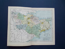 KENT MAP WITH RAILWAYS-ANTIQUE PHILIPS COLOURED  DATE  1898   APP 7inx 9in