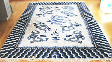 China Drachenteppich Seide 272x182cm Teppich blau dragon silk rug