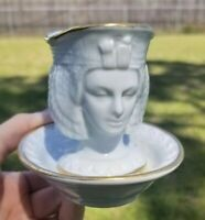 Rare Cleopatra Two Faced Cup and Saucer / Jam Jar and Bowl White Gold Trimmed