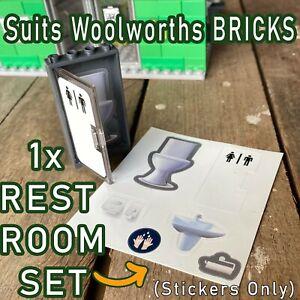 RARE/CUSTOM RESTROOM (toilet) SET 1x Sticker Sheet SUITS Woolworths BRICKS cute!