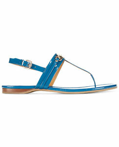 New Womens Authentic Coach Flats Leather 9 Shoes Bright Blue Logo Sandal Shiny