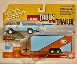 GULF 1959 FORD F-250 WITH ENCLOSED CAR TRAILER #03976 JL DIECAST SCALE 1/64 NEW