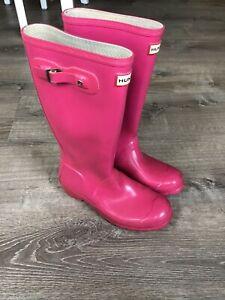 Hunter Boots Size 6 Womens / 37 Pink Original Tall Gloss Rubber Rain Waterproof