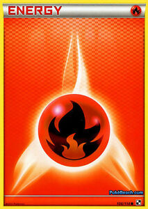 BLACK AND WHITE POKEMON ENERGY CARD - FIRE ENERGY 109/114