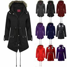 Womens Ladies Brave Soul Long Military Parka Hood Fishtail Faux Fur Coat Jacket