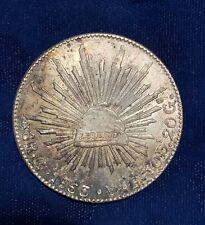 MEXICO REPUBLIC GUANAJUATO MINT 1863-GoYF 8 REALES COIN, ALMOST UNCIRCULATED