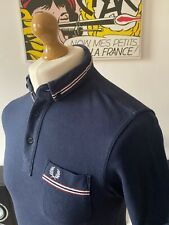 Men's Fred Perry Navy Blue Polo Shirt Small Slim Fit Mod Ska Skins Casuals