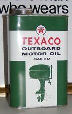 TEXACO MOTOR OIL CAN OUTBOARD SAE 30 ORIGINAL VTG 1957 Empty VERY GOOD CONDITION