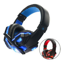 LED Gaming Wired Headphone 3.5mm Over-Ear Earphone HiFi Stereo Bass Headset Mic