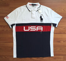 $90 NWT POLO RALPH LAUREN Mens Red White Blue USA Big Pony Shirt Custom Slim XXL