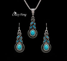 Tibetan Silver Turquoise Crystal Pendant Necklace Earrings Jewelry set For Women