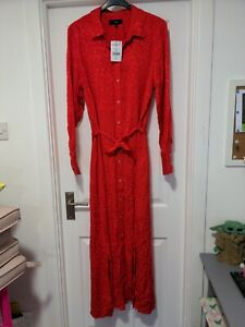Next Red Jacquard Long Sleeve Belted Midi Shirt Dress Size 20 Tall BNWT RRP £42