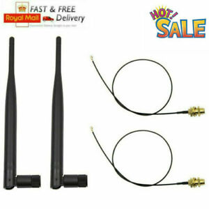 2X WiFi RP-SMA Antenna 5DBI 2.4GHz 5GHz Dual Band+2x 35cm U.fl/IPEX Cable Range