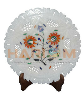 "10"" White Marble Designer Serving Tray Plate Grill Art Floral Inlay Decors P065"