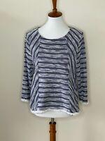 Chico's Size 1 Blue White Fringe Long Sleeve Stripe Women's Top Shirt