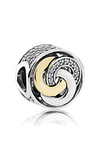 New Authentic Pandora SILVER & 14K INTERLINKED CIRCLES CHARM SPRING 17# 792090CZ