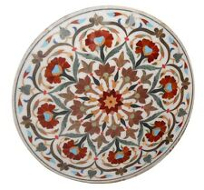 "24"" White Marble Round Coffee Table Top Carnelian Floral Inlay Mosaic Home Decor"