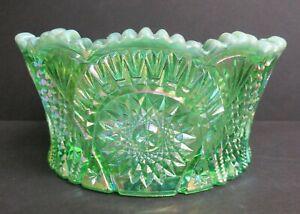 MOSSER GLASS GREEN OPAL IRIDIZED DIAMOND CLASSIC BOWL w/LABEL