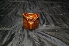 MEDITATION OWL HEAD PORCELAIN TEA LIGHT CANDLE OIL BURNER BROWN INCENSE