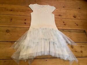 Girls Pretty Kate Mack White Dress With Silver Star Detail/Net Skirt Age 8 Years