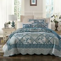 Coverlet Vintage Patchwork 100% Cotton No Synthetic King Single Bedspread Blue
