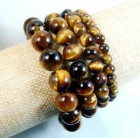 Natural 6-18mm Yellow Tiger's Eye Gems Round Beads Elastic Bracelet 7.5'' AAA